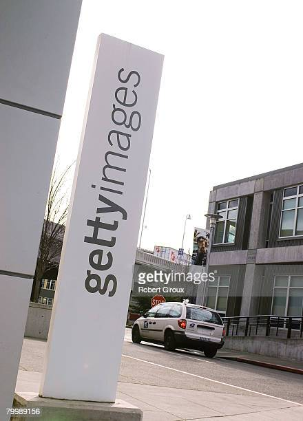 A sign stands outside Getty Images corporate headquarters February 25 2008 in Seattle Washington The company announced it had been acquired by...