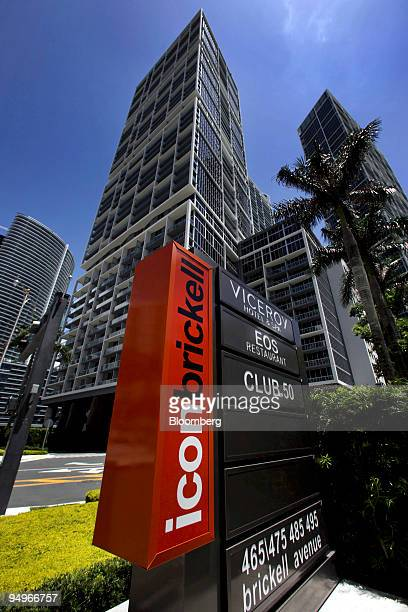A sign stands outside the Brickell Icon condo development in Miami Florida US on Wednesday Aug 12 2009 The developer of the Brickell Icon a $12...