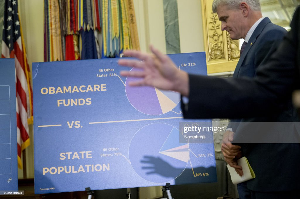 A sign stands past Senator Lindsey Graham, a Republican from South Carolina, while speaking during a news conference to reform health care on Capitol Hill in Washington, D.C., U.S., on Wednesday, Sept. 13, 2017. The Graham-Cassidy-Heller-Johnson (GCHJ) proposal repeals the structure of Obamacare and replaces it with a block grant given annually to states to help individuals pay for health care. Photographer: Andrew Harrer/Bloomberg via Getty Images