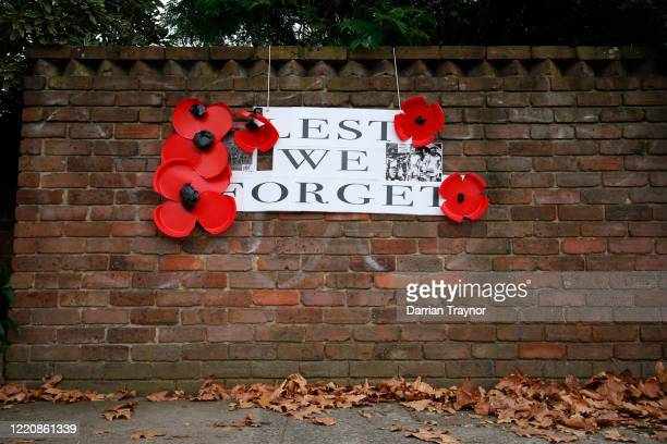 A sign supporting ANZAC Day is seen in Kew on April 25 2020 in Melbourne Australia Traditional Anzac Day ceremonies have been cancelled due to the...