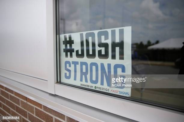 A sign supporting Josh Speidel in a window of the athletic department of his high school in Columbus Ind AJ Mast/ NCAA Photos via Getty Images