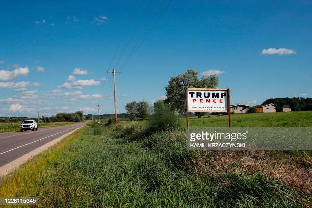 A sign supporting US President Donald Trump and US Vice President Mike Pence is seen in Kildare near Lyndon Station Juneau County Wisconsin on August...