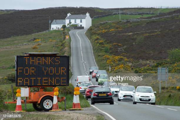 A sign thanking drivers is displayed near Kate's Cottage as a temporary 40mph national speed limit has been introduced in a bid to reduce the risk of...