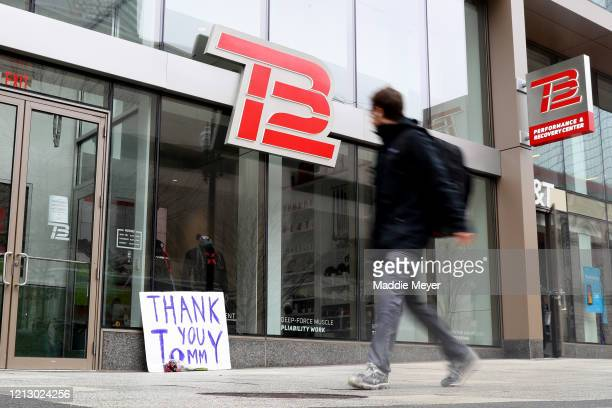 A sign thanking New England Patriots quarterback Tom Brady sits outside the TB12 Performance Recovery Center on March 17 2020 in Boston Massachusetts...