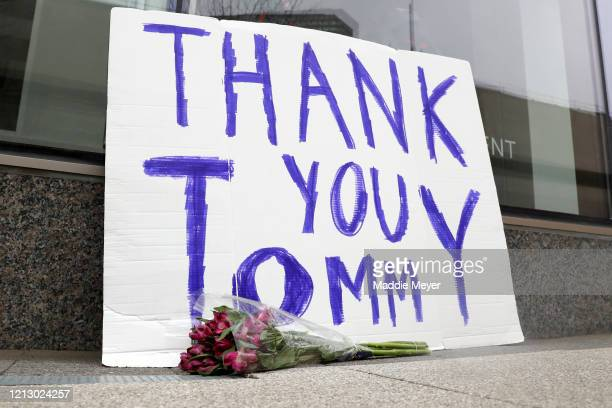 Sign thanking New England Patriots quarterback Tom Brady sits outside the TB12 Performance & Recovery Center on March 17, 2020 in Boston,...