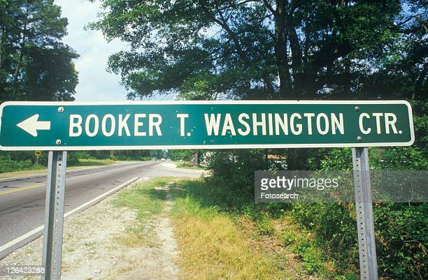a sign that reads ã´booker t. washington ctr.㶠- booker t. washington stock pictures, royalty-free photos & images