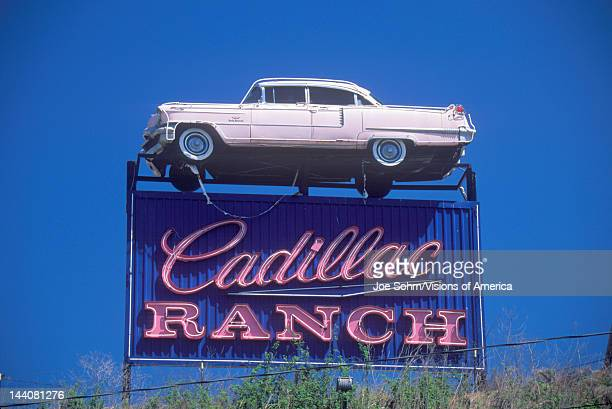 A sign that reads 'Cadillac Ranch'