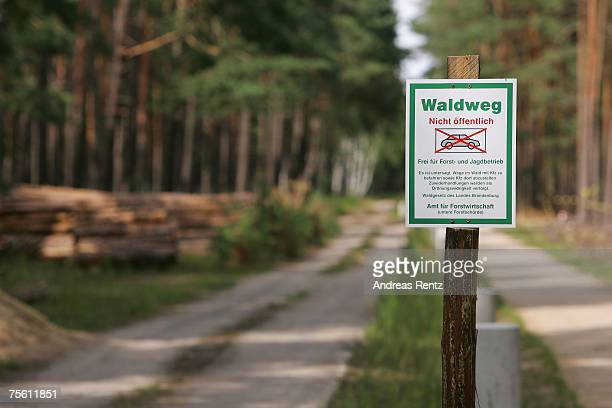A sign that reads 'forest track private for cars forbidden' seen in a forest on July 23 2007 in Neubrueck Germany Nearby filmcrews were shooting...