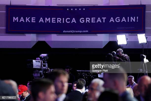 A sign that reads 'Make America Great Again' is displayed at Republican presidential nominee Donald Trump's election night event at the New York...