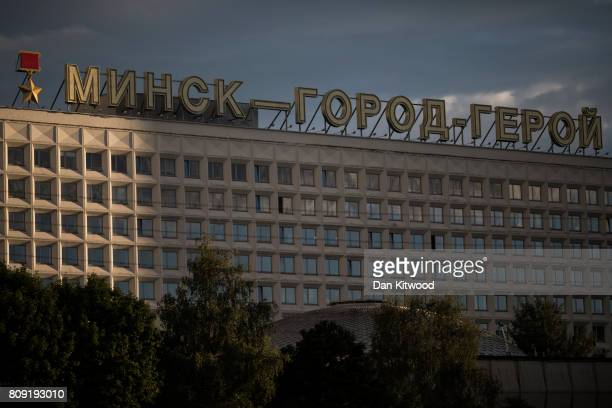 A sign that reads 'Minsk Hero City' above a modernist building on July 04 2017 in Minsk Belarus The postSoviet republic of Belarus borders Poland to...