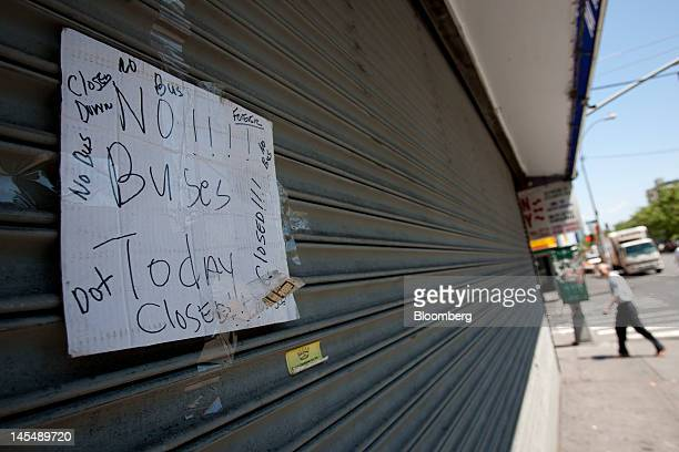A sign that reads 'No Buses' is posted on the shuttered offices of Apex Bus Inc in New York US on Thursday May 31 2012 The US Transportation...