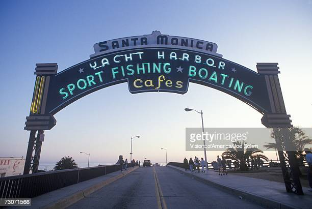 a sign that reads ?santa monica yacht harbor? - santa monica stock pictures, royalty-free photos & images