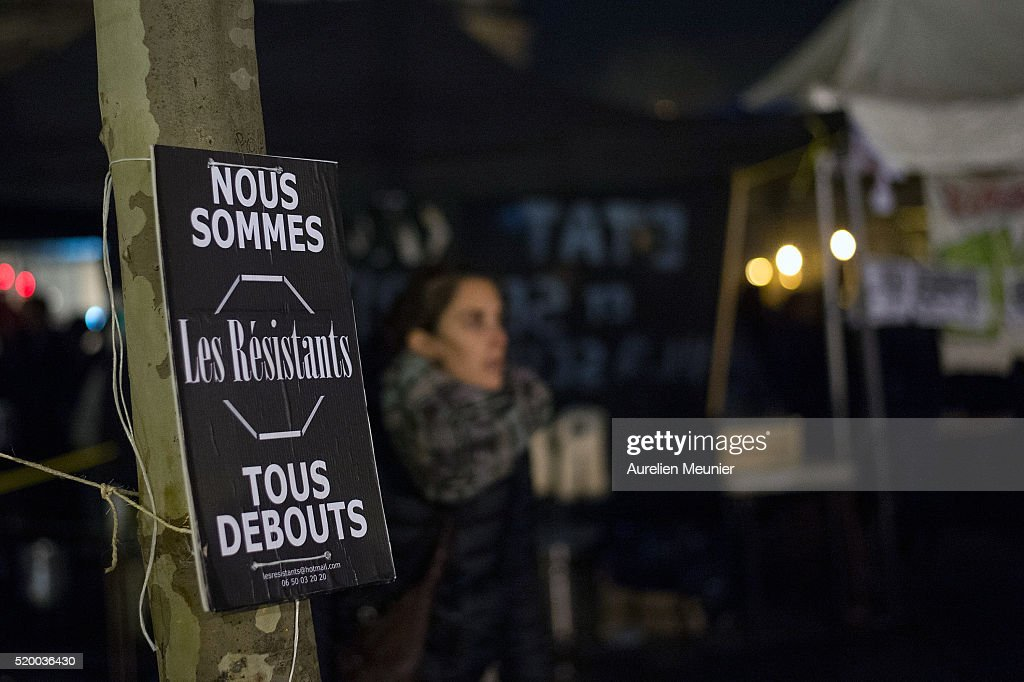 'Nuit Debout' (Up All Night) Movement At Place de La Republique In Paris : Photo d'actualité