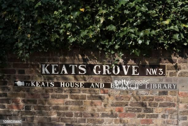 Sign to Keats House, where John Keats. The romantic poet, lived in the 18th century, Keats Grove, Hampstead, London, NW3, England. Artist Ethel...