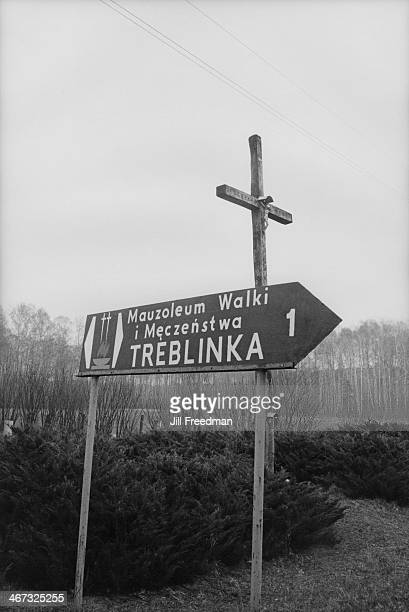 A sign to the extermination camp of Treblinka in Germanoccupied Poland circa 1993