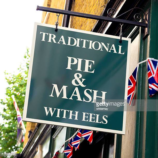 sign - traditional pie and mash with eels - greenwich london stock pictures, royalty-free photos & images