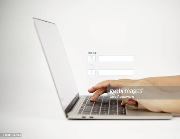sign up unlock computer laptop - human body part stock pictures, royalty-free photos & images
