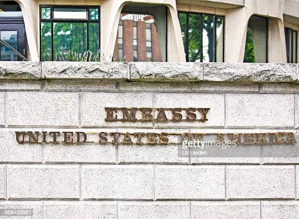sign, us embassy, dublin - us embassy stock pictures, royalty-free photos & images