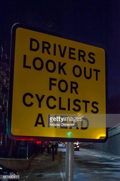 CONTENT] Sign warning drivers to look out for cyclists at the Bow roundabout London where 3 cyclists have been killed in two years