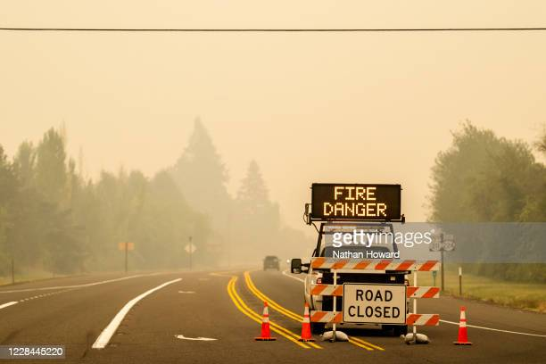 Sign warning of impending fire danger is posted on September 10, 2020 in Estacada, Oregon. Multiple wildfires grew by hundreds of thousands of acres...