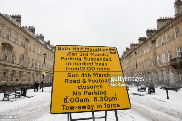 A sign warning of traffic and parking restrictions is pictured on Great Pultney Street the start of this Sunday's Bath Half Marathon which was...