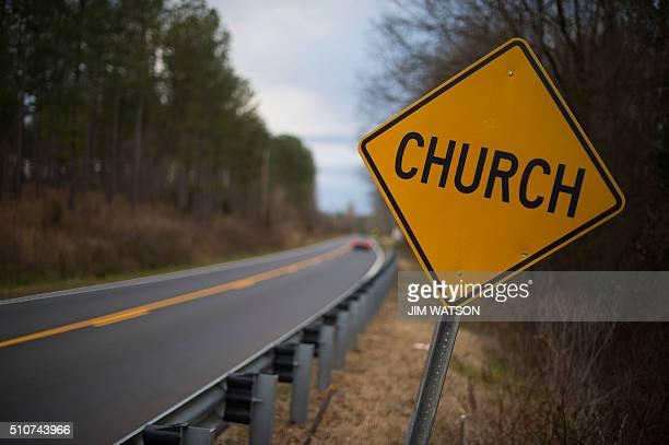 A sign warning to yield for a church is posted on a road near Anderson South Carolina February 16 where evangelical voters are expected to play a...
