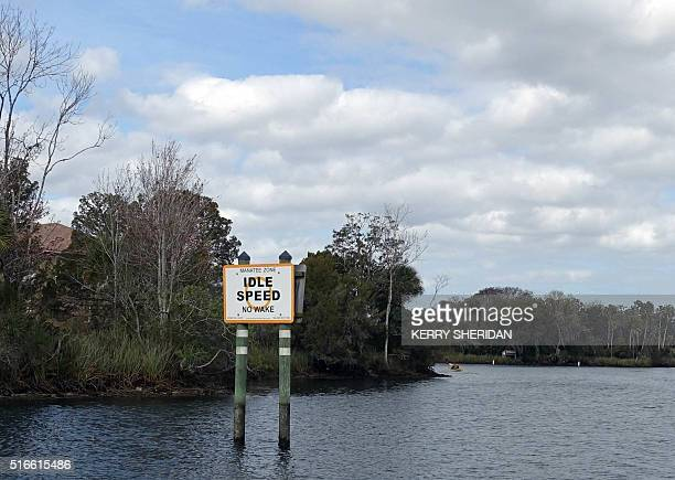 A sign warns boaters to travel at idle speed to avoid harming endangered manatees in Crystal River Florida March 9 2016 At peak spring break season...
