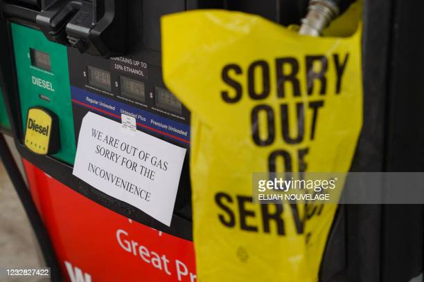 Sign warns consumers on the avaliability of gasoline at a RaceTrac gas station on May 11 in Smyrna, Georgia. - Fears the shutdown of a major fuel...