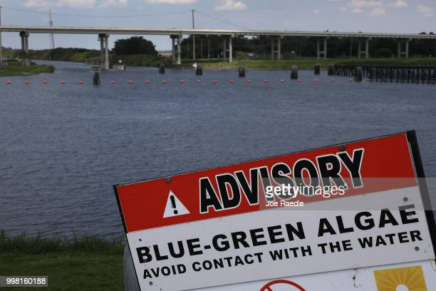 A sign warns of BlueGreen algae in the water near the Port Mayaca Lock and Dam on Lake Okeechobee on July 13 2018 in Port Mayaca Florida Water...