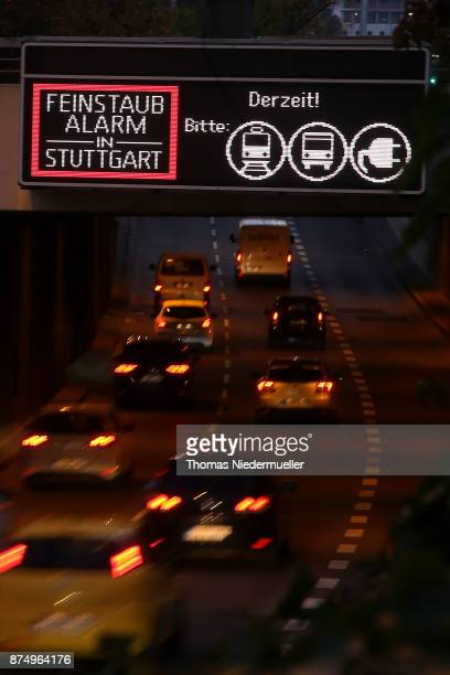 A sign warns of high levels of particulates a form of pollutants on a day the city announced a pollution alarm on November 15 2017 in Stuttgart...