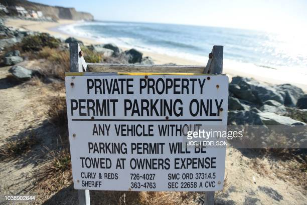 A sign warns of limited parking at Martin's Beach in Half Moon Bay California on September 19 2018 Billionaire Vinod Khosla purchased the land and...