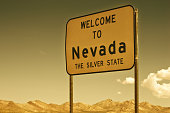Sign Welcome to Nevada, Death Valley. USA
