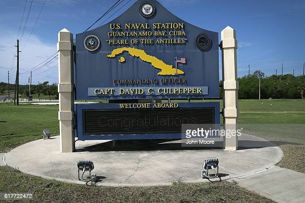 "Sign welcomes military personnel to the U.S. Naval Station at Guantanamo Bay, also known as ""Gitmo"" on October 23, 2016 at Guantanamo Bay, Cuba. The..."