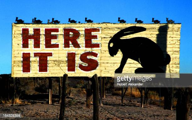 A sign welcomes motorists traveling along historic Route 66 to the iconic Jack Rabbit Trading Post in Joseph City Arizona Since 1949 the trading post...