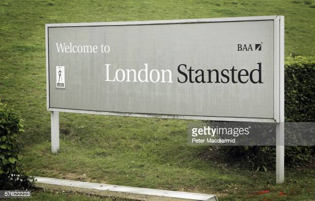 Sign welcomes passengers to London's Stansted airport on May 15, 2006 in London. Low cost airlines are increasing their market share in Europe by...