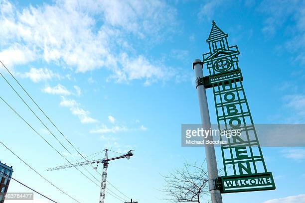 A sign welcomes people to the City of Hoboken in an area of real estate under scrutiny for redevelopment on January 19 2014 in Hoboken New Jersey...