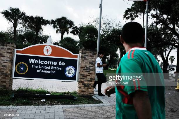 Sign welcomes people to the United States in the Texan city of Brownsville which has become dependent on the daily crossing into and out of Mexico on...