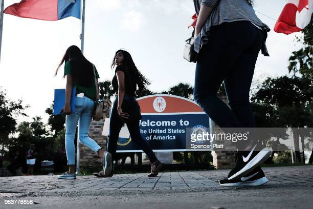 Sign welcomes people to the U.S. From Mexico on June 25, 2018 in Brownsville, Texas. Immigration has once again been put in the spotlight as...