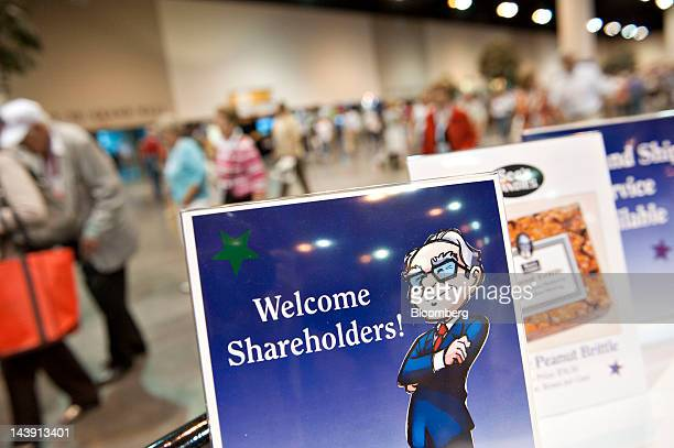 A sign welcomes shareholders during the Berkshire Hathaway Inc annual shareholder meeting in Omaha Nebraska US on Saturday May 5 2012 Berkshire...