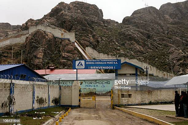 A sign welcomes visitors to Chinalco's temporary base of mining operations at the Toromocho Project in Morococha Peru on Monday April 5 2010 Aluminum...