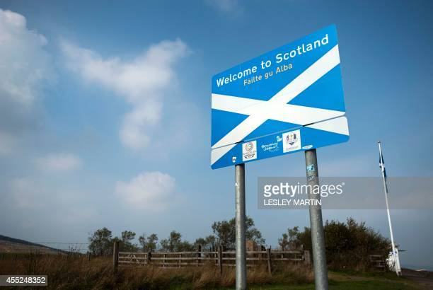Sign welcomes visitors to Scotland near the town of Selkirk on the border between England and Scotland on September 11 ahead of the referendum on...