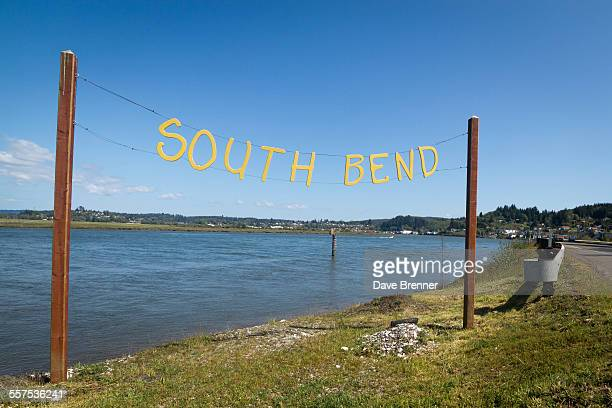 A sign welcomes visitors to South Bend, Washington