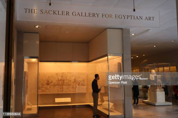 A sign welcomes visitors to the Sackler Wing at the Metropolitan Museum of Art on March 28 2019 in New York City Joining a growing list of state and...