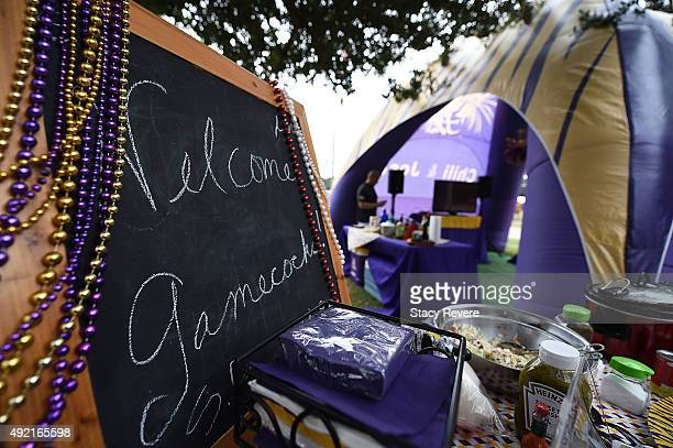 A sign welcoming fans of the South Carolina Gamecocks is seen at a tailgate party prior to a game between the South Carolina Gamecocks and the LSU...