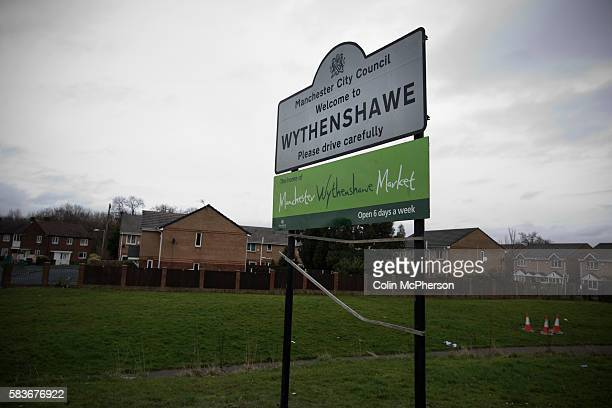 A sign welcoming visitors to Wythenshawe a district to the south of Manchester Historically in Cheshire in 1931 Wythenshawe was transferred to the...