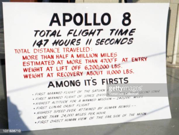 A sign which desribes the Apollo 8 Capsule reads Apollo 8 Total Flight Time 147 Hours 11 Seconds Total Distance Traveled More than half a million...