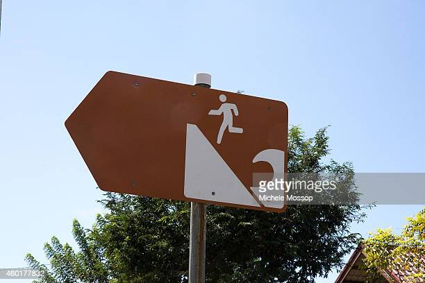 A sign which indicates where to run in case of tsunami is seen on December 5 2014 in Banda Aceh Indonesia The Indoensian province of Aceh was the...