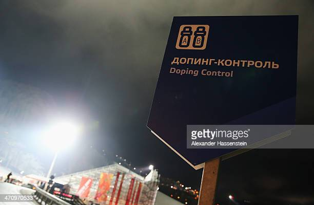 A sign which reads 'Doping Contol' is seen at the Women's Slalom during day 14 of the Sochi 2014 Winter Olympics at Rosa Khutor Alpine Center on...