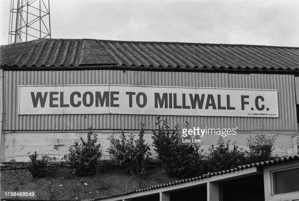Sign which reads 'Welcome to Millwall FC' outside The Den, London, UK, 15th March 1985.