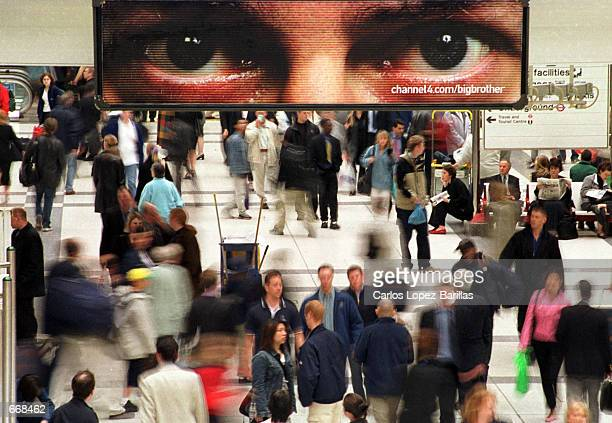 """Sign with a pair of eyes is used by a British independent television channel to advertise their latest television series called """"Big Brother"""", inside..."""